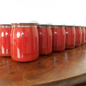 la conserva di pomodori è pronta per l'inverno