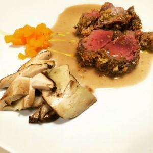 Selle di Lepre con Funghi porcini cucinata da Marco Follieri